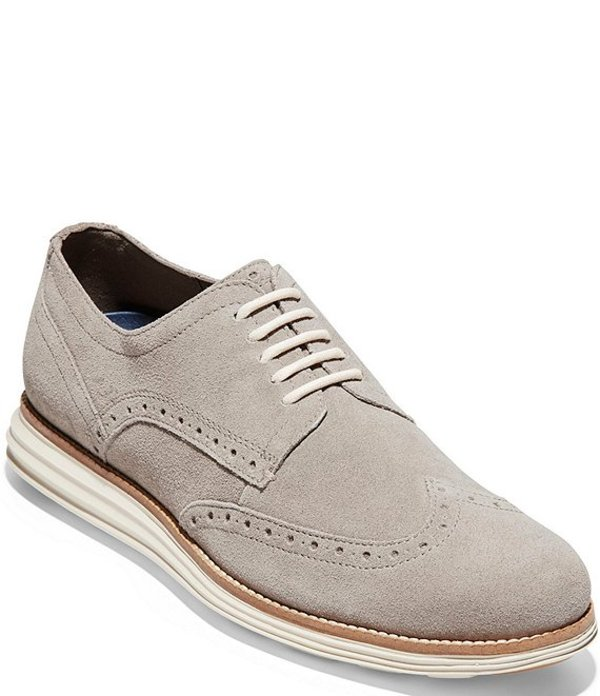 コールハーン メンズ ドレスシューズ シューズ Men's ORIGINALGRAND Wingtip Leather Oxfords Gray Pinstripe