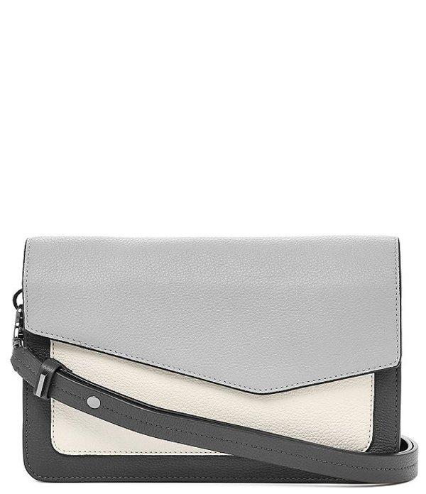 ボトキエ レディース ショルダーバッグ バッグ Cobble Hill Pebble Leather Colorblock Flap Snap Shoulder Bag Pewte/Multi