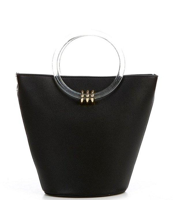 ジャンビニ レディース ショルダーバッグ バッグ Marlie Clear Ring Handle Bucket Crossbody Bag Black