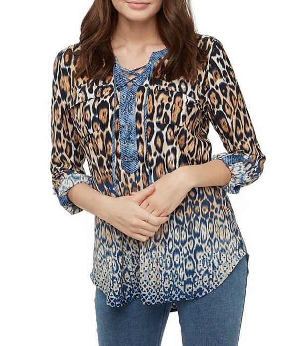 ピーター ナイガード レディース シャツ トップス Mixed Media Animal Print Lace Up Grommet Detail Front Shirt Indigo Leopard