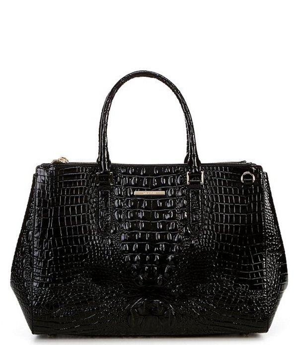 ブランミン レディース ハンドバッグ バッグ Melbourne Collection Blake Crocodile-Embossed Leather Magnetic Snap Satchel Bag Black