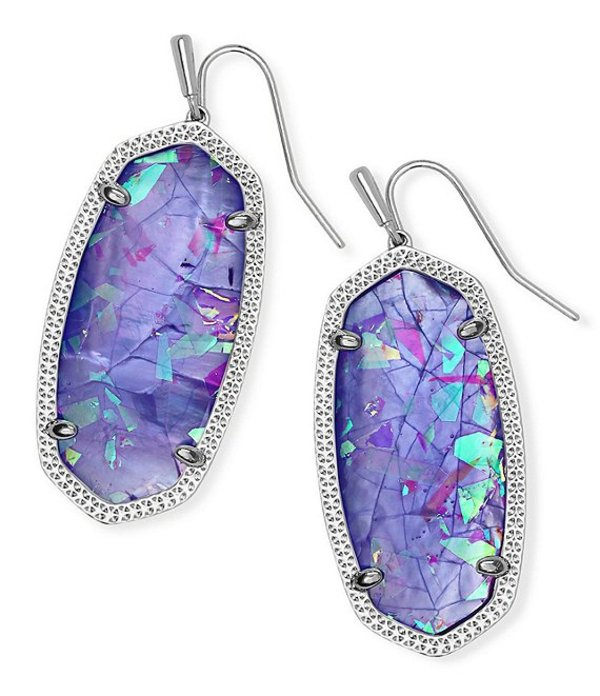 ケンドラスコット レディース ピアス・イヤリング アクセサリー Elle Silver Drop Earrings Iridescent Lilac Illusion