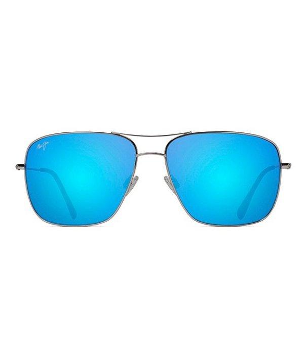 マウイジム メンズ サングラス・アイウェア アクセサリー Cook Pines PolarizedPlus2R Square 63mm Sunglasses Blue/Silver