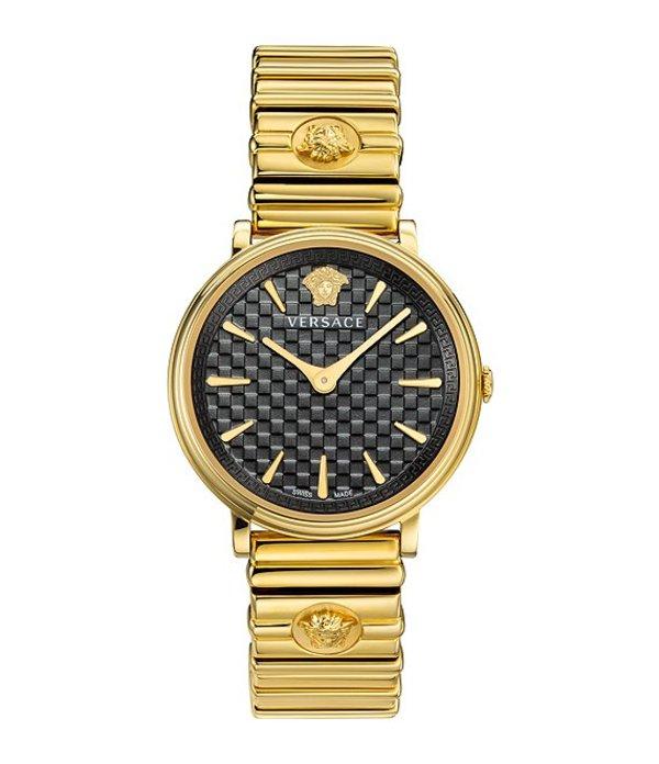 ヴェルサーチ レディース ブレスレット・バングル・アンクレット アクセサリー Women's V-Circle Logomania Goldtone Bracelet Watch Gold