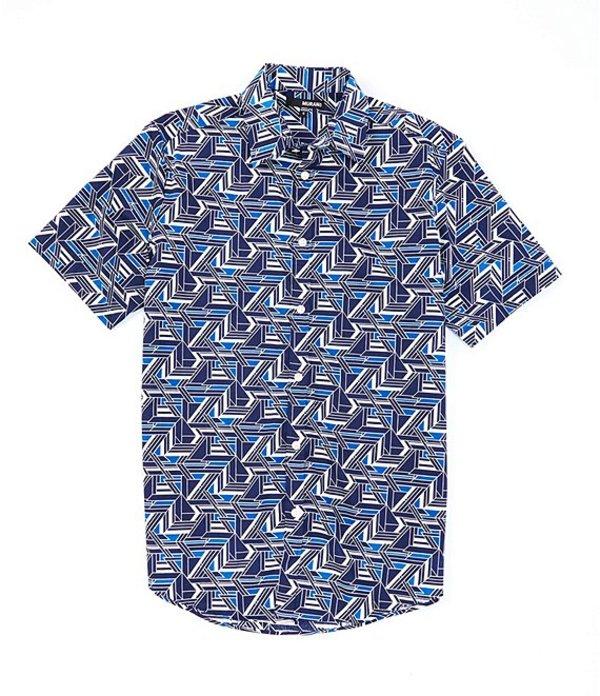 ムラノ メンズ シャツ トップス Big & Tall Geo Print Short-Sleeve Woven Shirt Navy
