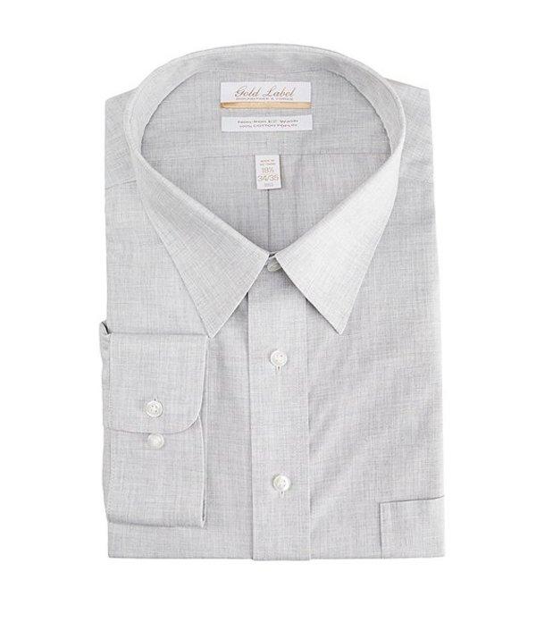 ラウンドトゥリーアンドヨーク メンズ シャツ トップス Gold Label Roundtree & Yorke Big & Tall Non-Iron Point Collar Solid Linen Dress Shirt Grey