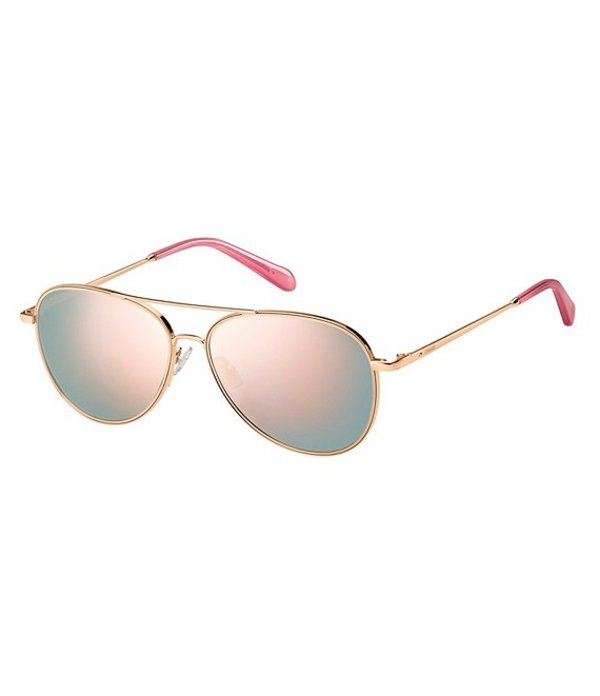 フォッシル メンズ サングラス・アイウェア アクセサリー Light Weight Aviator Sunglasses Red Gold