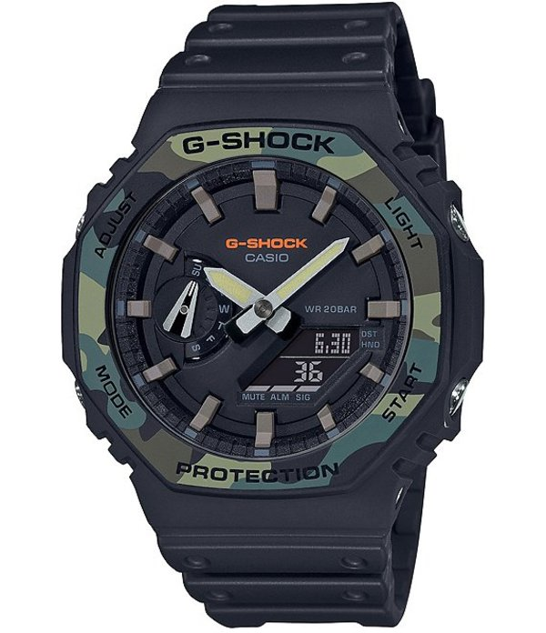 ジーショック メンズ 腕時計 アクセサリー Green Camo Bezel Ana-Digi Resin Strap Watch Black