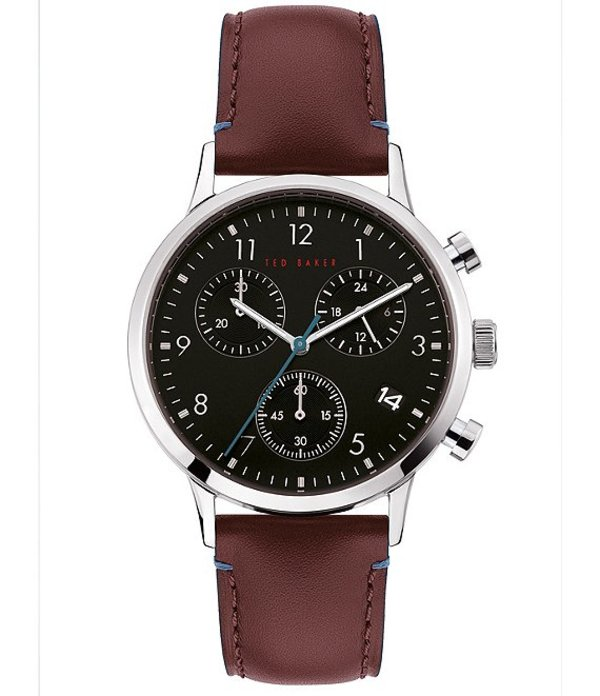テッドベーカー メンズ 腕時計 アクセサリー Cosmop Red Leather Strap Black Dial Chronograph Watch Red