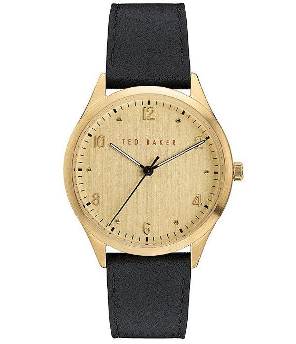 テッドベーカー メンズ 腕時計 アクセサリー Manhatt Black Leather Strap Gold Dial Three-Hand Watch Black