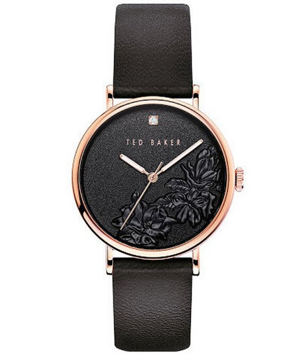 テッドベーカー レディース 腕時計 アクセサリー Phylipa Black Embossed Flower Three-Hand Watch Black