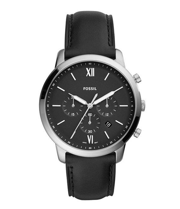 フォッシル メンズ 腕時計 アクセサリー Neutra Chronograph Black Leather Watch Black