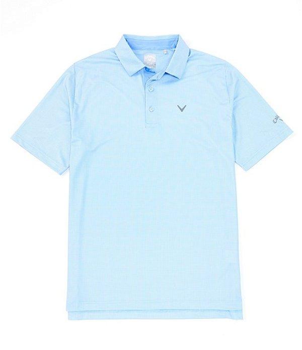 キャラウェイ メンズ シャツ トップス Golf Short-Sleeve Gingham Polo Cornflower Blue
