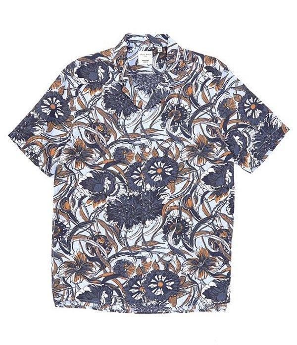 ムラノ メンズ シャツ トップス Slim-Fit Printed Baird McNutt Linen Short-Sleeve Woven Camp Shirt Light Blue