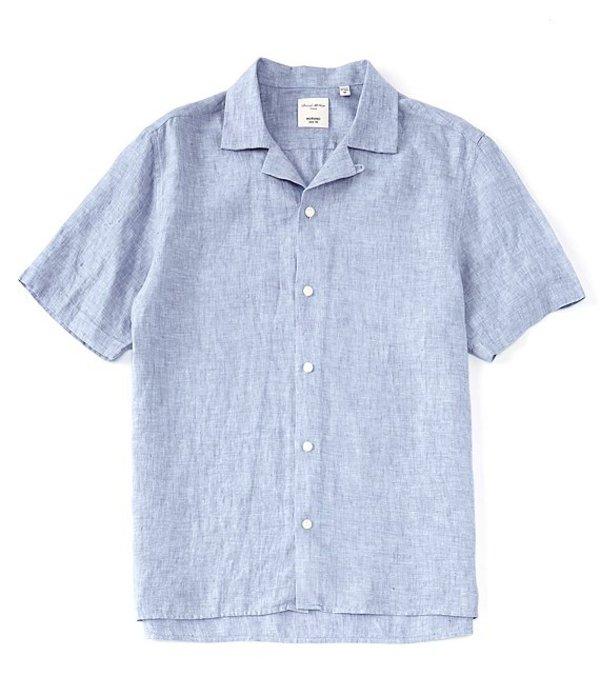 ムラノ メンズ シャツ トップス Slim-Fit Baird McNutt Linen Short-Sleeve Woven Camp Shirt Blue