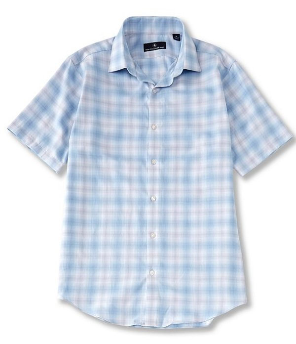 ハート シャフナー マルクス メンズ シャツ トップス Short Sleeve Ombre Twill Checked Sportshirt Teal
