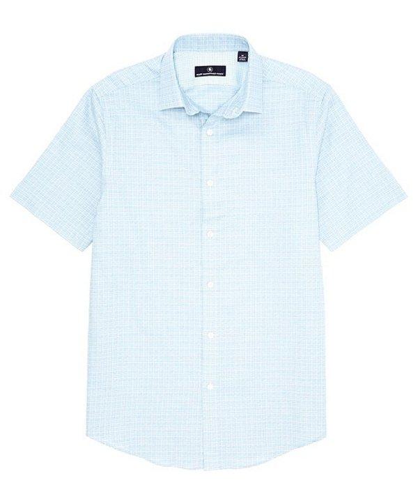 ハート シャフナー マルクス メンズ シャツ トップス Short Sleeve Crosshatch Sportshirt Teal