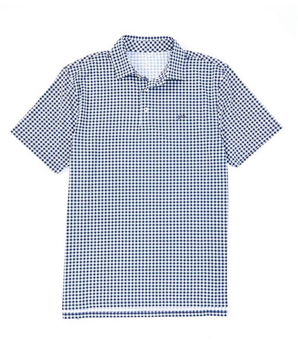 サウザーンタイド メンズ シャツ トップス Driver Gingham Print Performance Stretch Short-Sleeve Polo Shirt True Navy