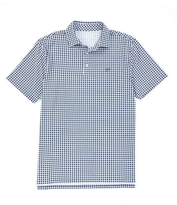 サウザーンタイド メンズ シャツ トップス Driver Gingham Print Performance Stretch Short-Sleeve Polo Shirt True Navy
