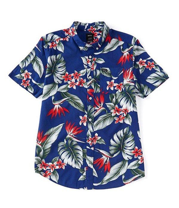 ルーカ メンズ シャツ トップス Regular Fit Montara Print Short-Sleeve Shirt Blue