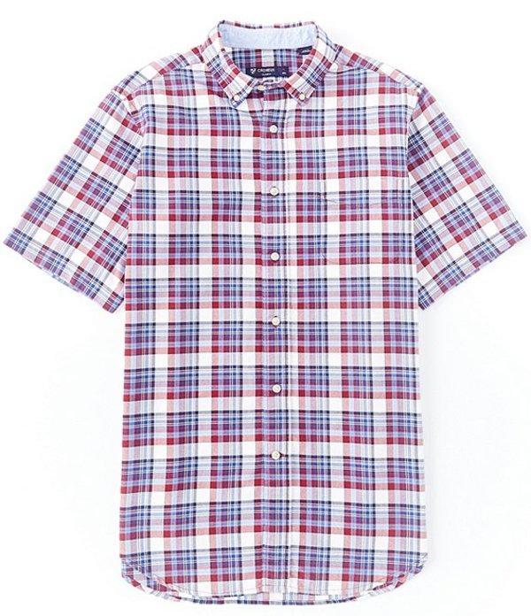ダニエル クレミュ メンズ シャツ トップス Plaid Oxford Multi-Color Short-Sleeve Woven Shirt Biking Red