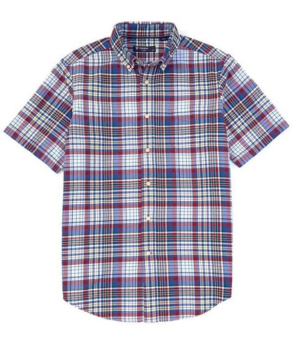 ダニエル クレミュ メンズ シャツ トップス Short-Sleeve Multi Blue Plaid Oxford Woven Shirt Multi Blue
