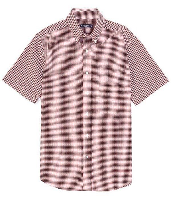 ダニエル クレミュ メンズ シャツ トップス Check Dobby Short-Sleeve Woven Shirt Medium Red