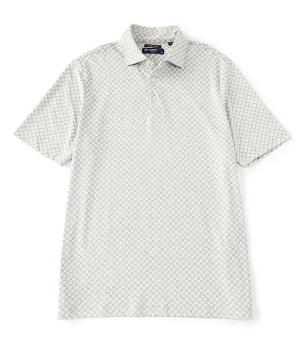 ダニエル クレミュ メンズ シャツ トップス Paisley Print Short-Sleeve Polo Shirt Light Grey Heather