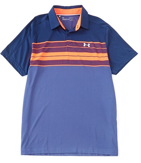 アンダーアーマー メンズ シャツ トップス Golf UA Vanish Chest Stripe Short-Sleeve Knit Polo Shirt Academy