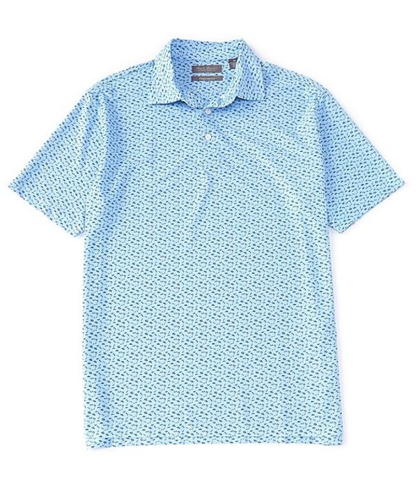 ダニエル クレミュ メンズ シャツ トップス Daniel Cremieux Signature Printed Short-Sleeve Performance Polo Shirt Sky Blue