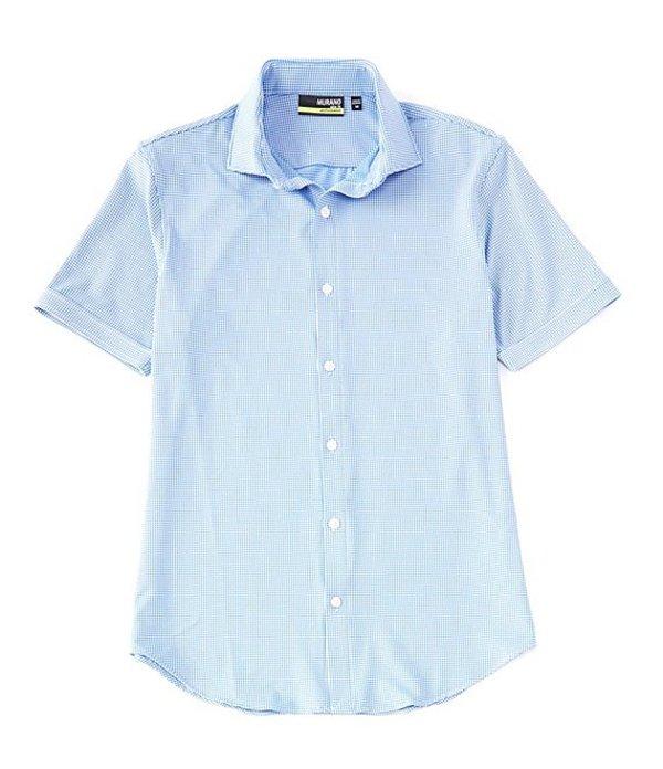 ムラノ メンズ シャツ トップス Slim-Fit Performance Gingham Short-Sleeve Woven Coatfront Shirt Blue