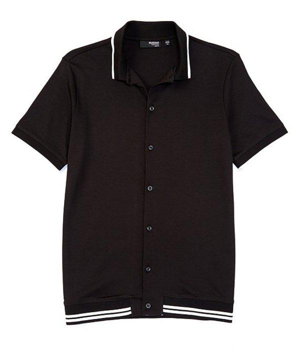 ムラノ メンズ シャツ トップス Liquid Luxury Slim-Fit Tipped Short-Sleeve Woven Coatfront Shirt Black