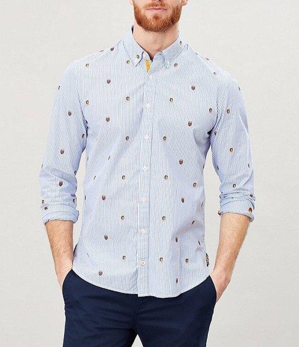 ジュールズ メンズ シャツ トップス Ballintoy Printed Long-Sleeve Classic Fit Shirt Blue Crest