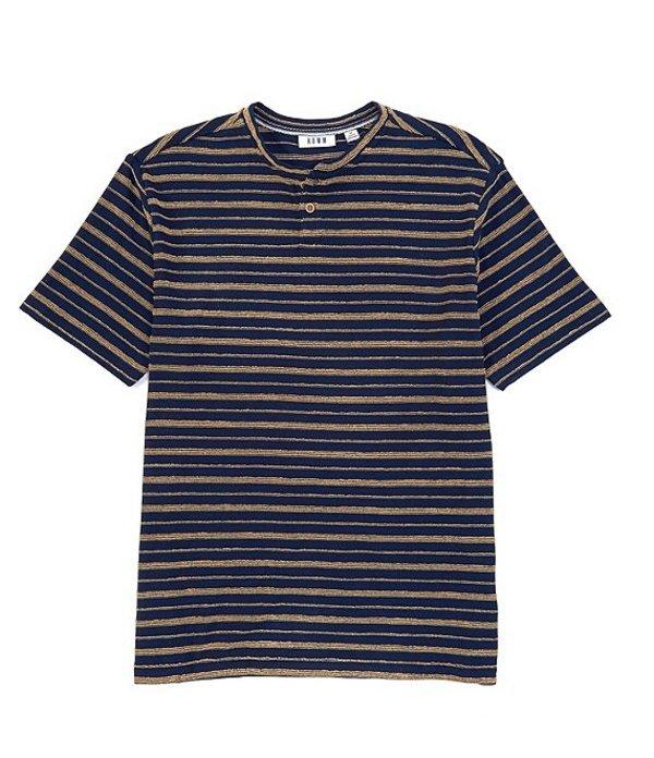 ラウン メンズ シャツ トップス Short-Sleeve Textured Stripe Henley Navy