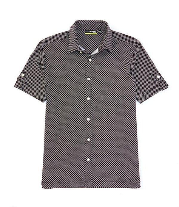 ムラノ メンズ シャツ トップス Big & Tall Star Print Performance Short-Sleeve Woven Coatfront Shirt Black