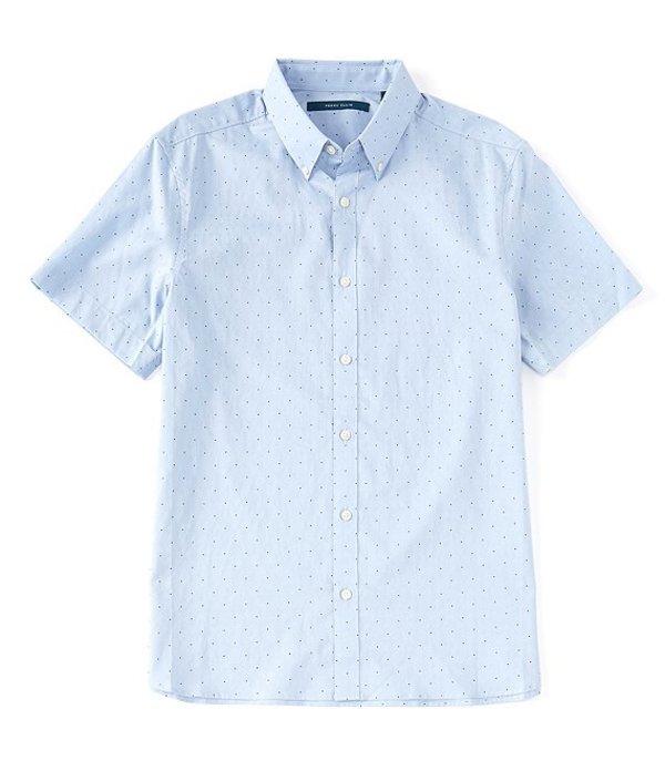 ペリーエリス メンズ シャツ トップス Dot Print Dobby Short-Sleeve Woven Shirt Forever Blue