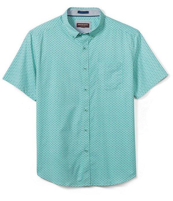 ジョンストンアンドマーフィー メンズ シャツ トップス XC4 Cube Print Stretch Short-Sleeve Woven Shirt Green