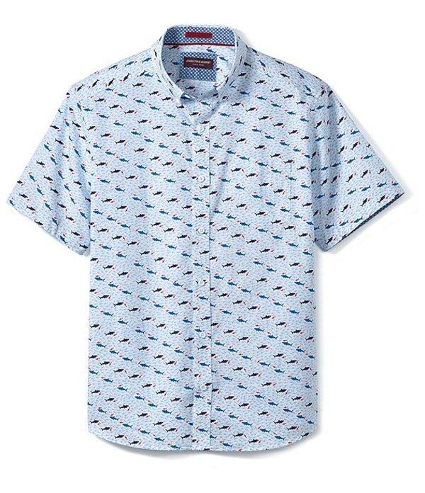 ジョンストンアンドマーフィー メンズ シャツ トップス Shark Print Short-Sleeve Woven Shirt White