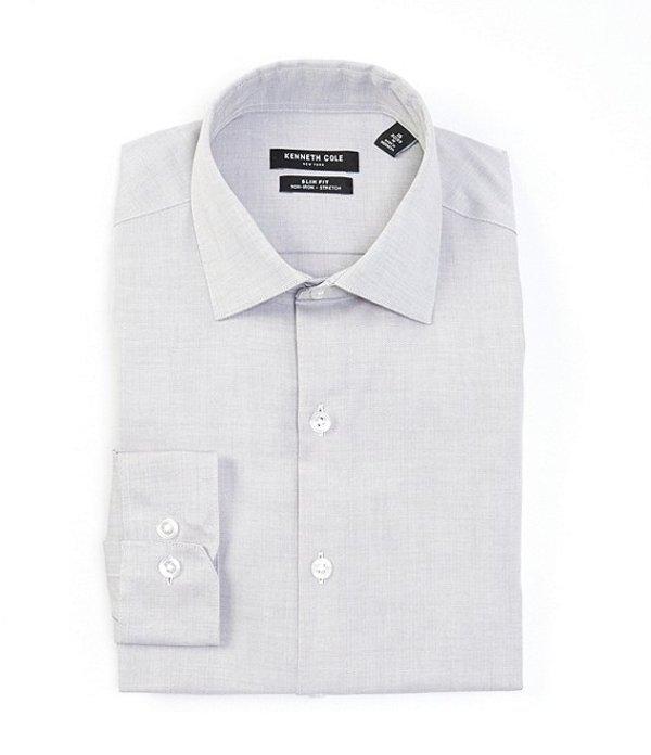 ケネスコール メンズ シャツ トップス Non-Iron Slim Fit Spread Collar Solid Dress Shirt Grey Frost
