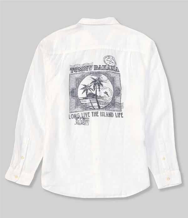 トッミーバハマ メンズ シャツ トップス Passport To Paradise Linen Long-Sleeve Woven Shirt White