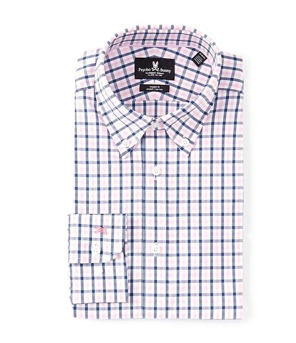 サイコバニー メンズ シャツ トップス Non-Iron Modern Slim Fit Button-Down Collar Plaid Dress Shirt Navy