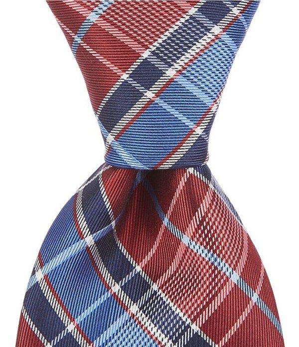 ラウンドトゥリーアンドヨーク メンズ ネクタイ アクセサリー Wynwood Plaid Traditional 3 3/8#double; Silk Tie Burgundy