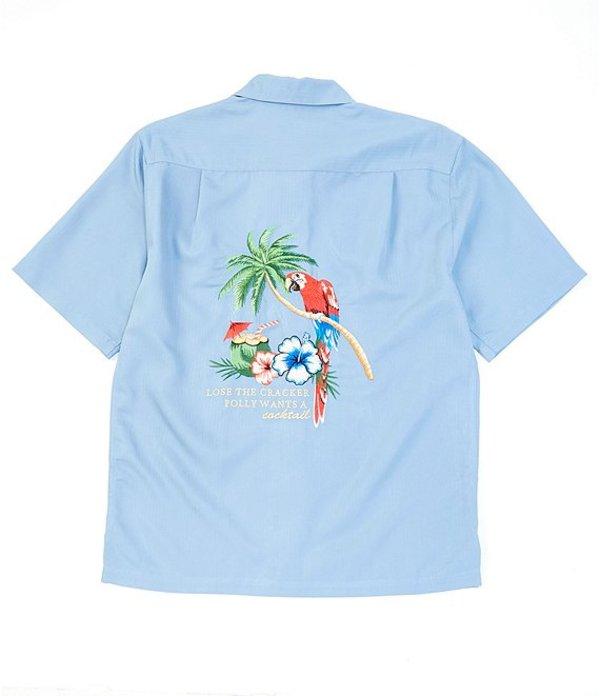カリビアン メンズ シャツ トップス Parrot Back Embroidery Short-Sleeve Woven Shirt Bluestone