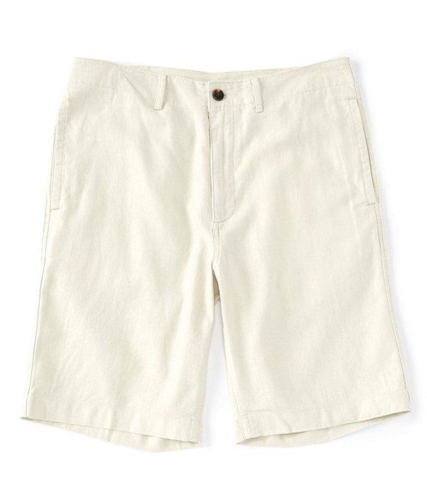 カリビアン メンズ ハーフパンツ・ショーツ ボトムス Flat-Front Linen Blend 10#double; Inseam Shorts Cream