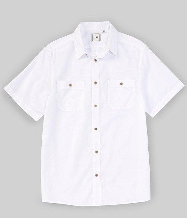 ラウン メンズ シャツ トップス Short-Sleeve Solid Dobby Textured 2-Pocket Sportshirt White