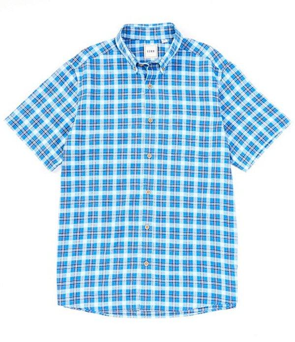 ラウン メンズ シャツ トップス Short-Sleeve Nep Plaid Sportshirt Indigo