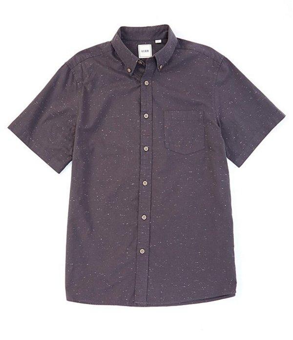 ラウン メンズ シャツ トップス Short-Sleeve Solid Nep Sportshirt Medium Charcoal