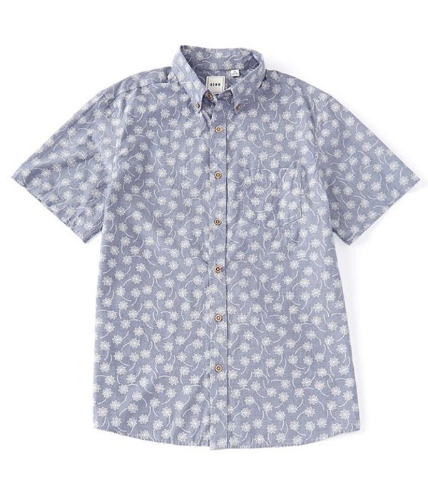 ラウン メンズ シャツ トップス Short-Sleeve Dandelion Printed Sportshirt Dusty Blue