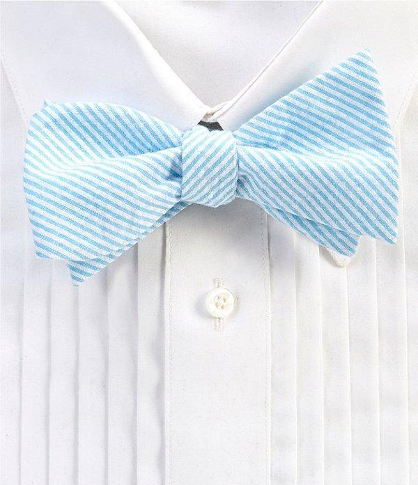 ダニエル クレミュ メンズ ネクタイ アクセサリー Derby Seersucker Stripe Bow Tie Blue