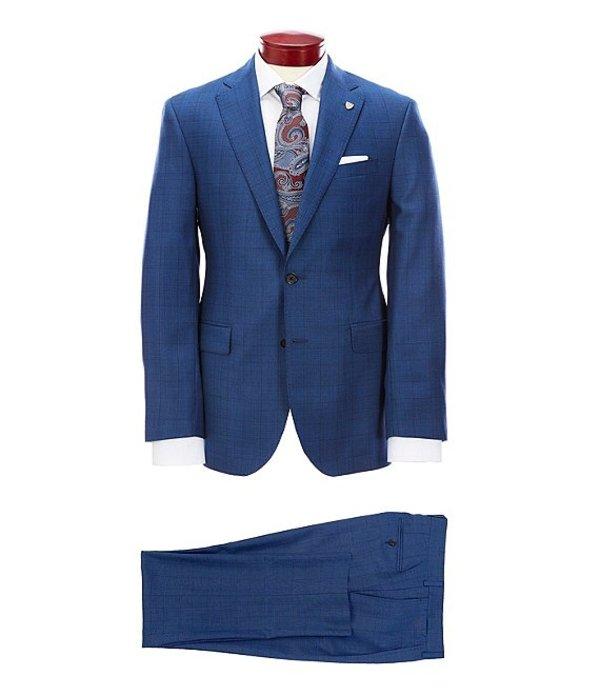 ダニエル クレミュ メンズ ジャケット・ブルゾン アウター Modern Fit Large Plaid Blue Pleated Wool Suit Blue